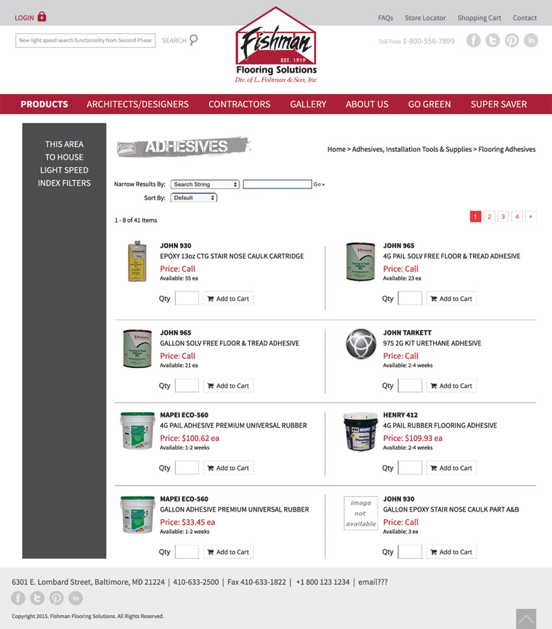 Product Results Page
