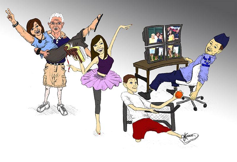 Caricature - Sansonetti Family